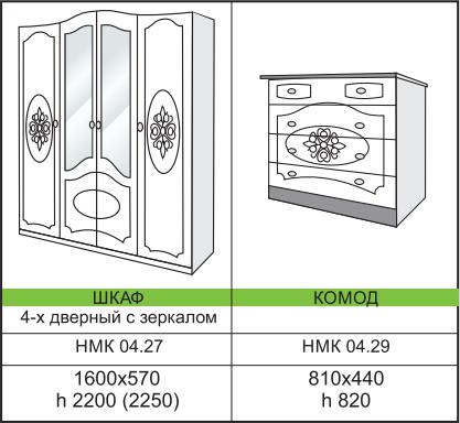 Размеры спальной мебели для дома Азалия 2